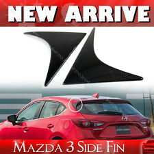 Carbon 2pcs Fit For Mazda 3rd Hatchback 5D Rear Triangle Fin Cover Cap 14-18