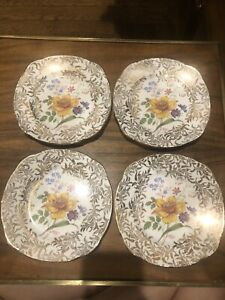 """4 GENUINE BONE CHINA MADE IN ENGLAND GOLD  FLORAL Bread Dessert Fruit Plate 6"""""""
