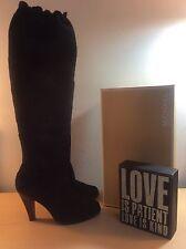 MICHAEL KORS (Olivia) Women's Black Suede Leather Knee-High Boots-Size 6M EUC