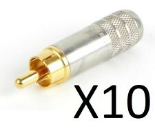 (10 Pack) Switchcraft 3502AAU RCA Male Cable End Nikel/Gold Shielded Solder Type