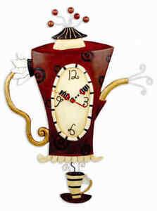 Allen Design Steamin' Tea Clock New/Boxed Pot Wall Gift Pendulum