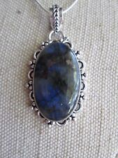Natural Labradorite Gemstone Pendant & Silver Plated Chain ~ (se1)