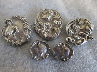 ANTIQUE LOT(5) ART NOUVEAU STERLING SILVER REPOUSSE MAIDEN LADY PIN BROOCHES 27g