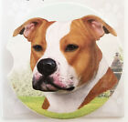 """Staffordshire  Terrier Absorbent Car Coaster Stoneware 2.5""""diam. by E&S Pets"""