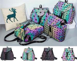 Ladie Luminous Backpack Fashion Diamond Lattice Bag Travel Geometric Storage I1