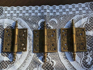 LOT 3 ANTIQUE VICTORIAN EASTLAKE BRASS DOOR HINGES FANCY RELIEF 4 X 4
