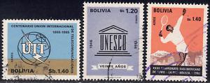 1968 Bolivia SC# C288-C293 - F - UIT - UNESCO - 3 Different - Used
