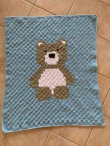 Handmade Crochet Pastel Blue Teddy Bear Baby Blanket