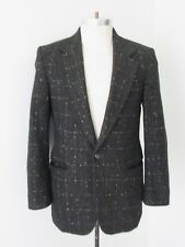 Vcg Vtg 80s New Wave Black Speckled Check Rag Tweed Blazer 1-Button Jacket 38