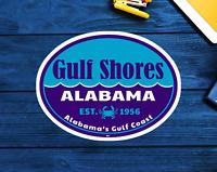 "Gulf Shores Alabama Sticker Decal 3.75"" Vinyl Indoor Outdoor AL Gulf Coast"