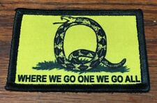 QAnon Gadsden Snake Morale Patch Tactical Military Army Flag Where we go one