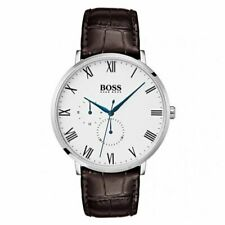 HUGO BOSS Mens William Blue Hands White Dial Brown Leather Strap Watch 1513617