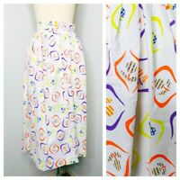 Vintage Secretary Skirt Size Small Pleated White Floral Back Zip Midi 60s