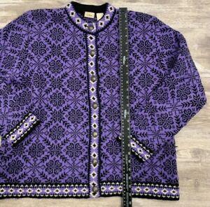 L L Bean 100% Merino Wool Jumper Snowflake Design Purple