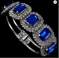 Silver Crystal Bangle Bracelet Blue Jewels