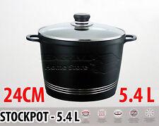 24CM die cast antiadhésif deep induction stock ragoût pot casserole couvercle en verre noir