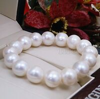 Genuine 11-12MM Natural White Freshwater Cultured Pearl Stretchy Bracelet 7.5''