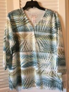 Alfred Dunner Beautiful Multi Palm  3/4 Sleeve Embellished VNeck Top Size 1X NWT