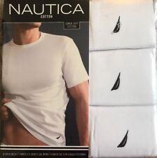 Nautica 3 Pack CREW Neck T-shirts Medium M White 100% Cotton Msrp:$39