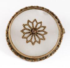 ANTIQUE VICTORIAN OR EDWARDIAN CAMPHOR GLASS BROOCH PIN BRASS VTG ESTATE JEWELRY