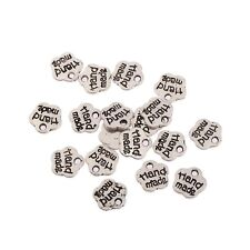 20pcs Handmade Word Beads Tibetan Silver Charms Pendant DIY Bracelet 8mm
