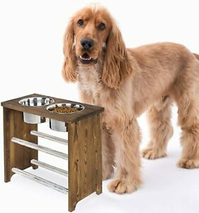 MyGift 15 Inch Tall Dark Brown Wood Large Pet Dog Raised Feeder Stand with Bowls