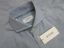 Eton Slim Fit Chambray Solid Button Front Dress Shirt Small S 15 38