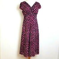 Per Una Midi Dress UK 12 Pink Animal Print Fit Flare Sheer Lined Floaty V-Neck
