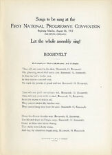 Rare 1912 Progressive Party Convention Songster ~ Theodore Roosevelt (2198)