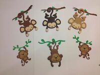 "DIE CUTS Set 6 Monkeys 3"" H & 2"" H  SCRAPBOOKING CARD & PARTY DECORATIONS"