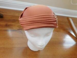 """Vintage Hat by Yvette New York Peach Satin 22 1/2"""" Designer Folded Design"""
