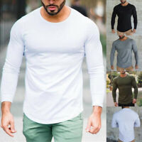 Men's Long Sleeve Bodybuilding T-shirt Slim Muscle Tops Fitness Gym Workout Top