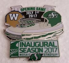 CFL SASKATCHEWAN ROUGHRIDERS 2017 INAUGURAL SEASON OPENING GAME 7/1 LAPEL PIN