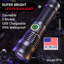SUPER BRIGHT 100000LM 70W LED Flashlight Tactical Torch XHP 70 7200 mAh Battery