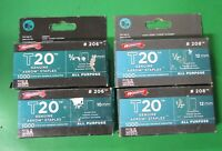"Lot of 4 PACKS Arrow Fastener Genuine T20 Staples (2) #208 1/2"" & (2) #206 3/8"""