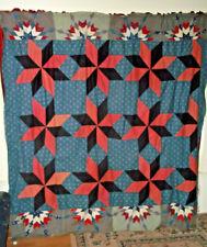 Antique Civil War quilt top tobacco pouch vintage cotton fabric red white blue!