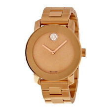 New Movado Bold Glitter Dial Rose Gold IP Stainless Steel Womens Watch 3600335