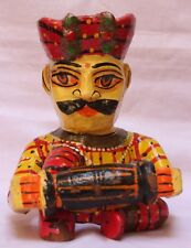 Indian Handicrafts Unique Wooden Painting Musician Man Rajasthani Statue WD 052