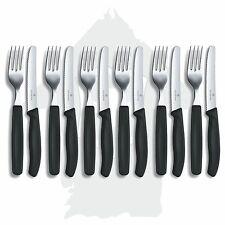6 Set's VICTORINOX Besteck Tafelbesteck Messer und Gabel + schwarz +