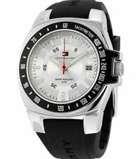 Tommy Hilfiger Black Silver Dial Rubber Men's Sports Watch 1790485