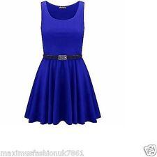 Womens Sleeveles Flared Franki Party Belt Swing Skater Dress Top Plus Size 8-26
