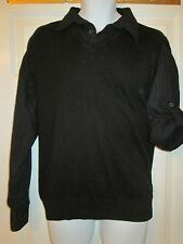 George - Black Acrylic tank top with faux cotton roll sleeve shirt Size Large