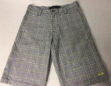 Oakley Mens Black Yellow Plaid Shorts Knee Length Size 30