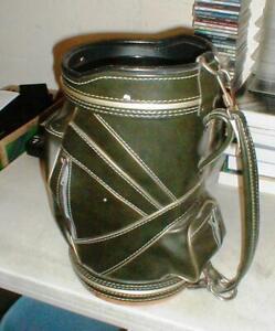 Vintage Atlantic Cowhide Leather Den Caddy Mini Golf Bag Ball Storage Waste Bin