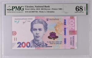Ukraine 200 Hryven 2019 P 126 Aa Superb Gem UNC PMG 68 EPQ