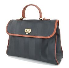 Authentic FENDI Black Striped PVC Tote Handbag Purse #33988