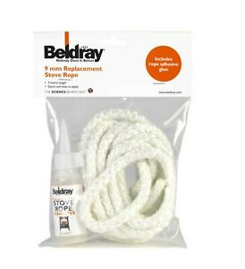 Beldray 9 mm Replacement Stove fireplace Rope Kit with Glue Adhesive 3 Meter