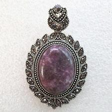 Beautiful Purple Lepidolite & Tibetan Silver Pendant Bead (Send Randomly) D7676