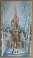 Rare 1950's Paramount Used Christmas Greeting Card People Church Mass Sparkle