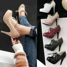 Classic Womens Brogue Court Pumps High Heel Booties Lace Up Round Toe Work Shoes